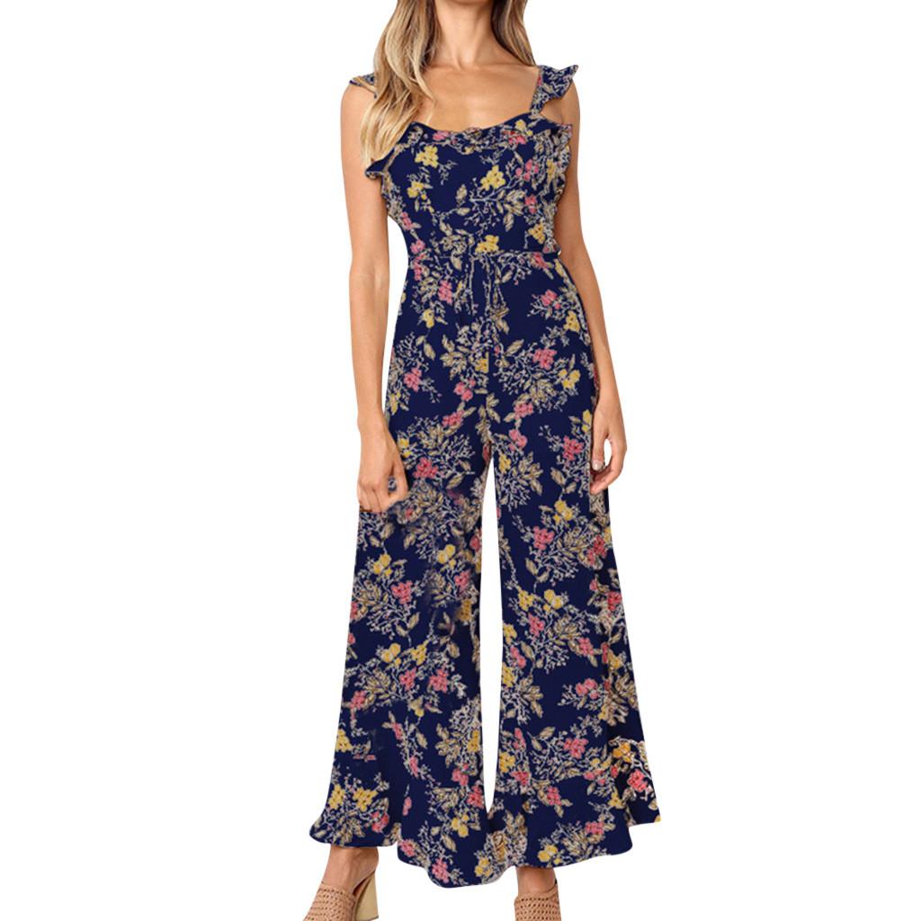 Combinaison pantalon décontracté Pint sans manches jambes larges pantalons décontractés pour femmes d'été sexy sur la plage