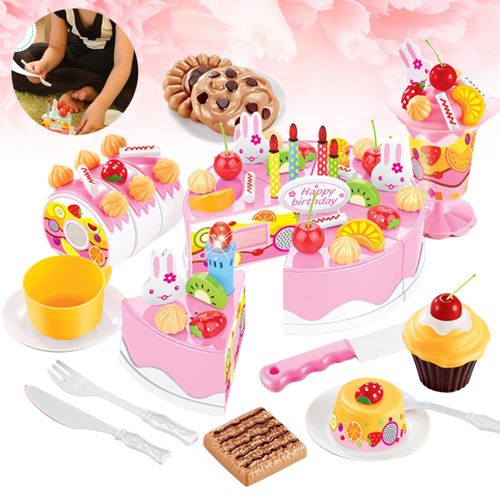 DIY Children Kitchen Toys Pretend Cutting Birthday Cake Fruit Cream Plastic Play Food Tea Set house Cookware Sets