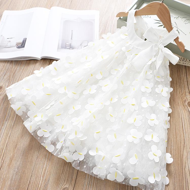 Bambino grande fiore ragazze vestito backless a-line tulle torta a strati bianco pizzo festa di nozze principessa maxi vestito