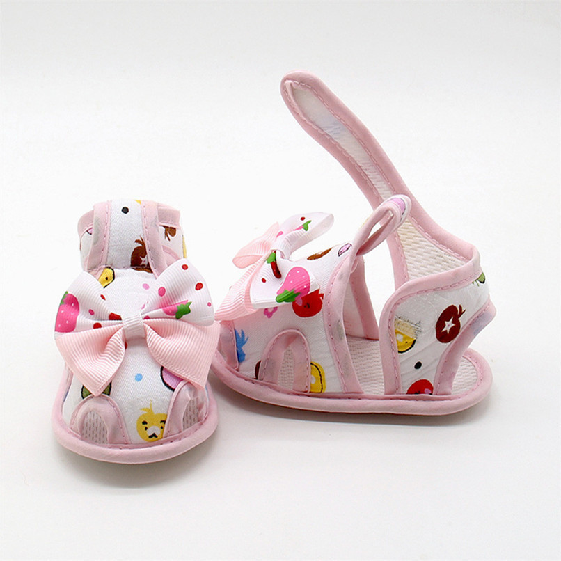 4 Color Summer Girls Shoes Newborn Infant Baby Girls Bow Print Soft Sole Toddler Anti-slip Shoes First Walker NDA84L23 (16)