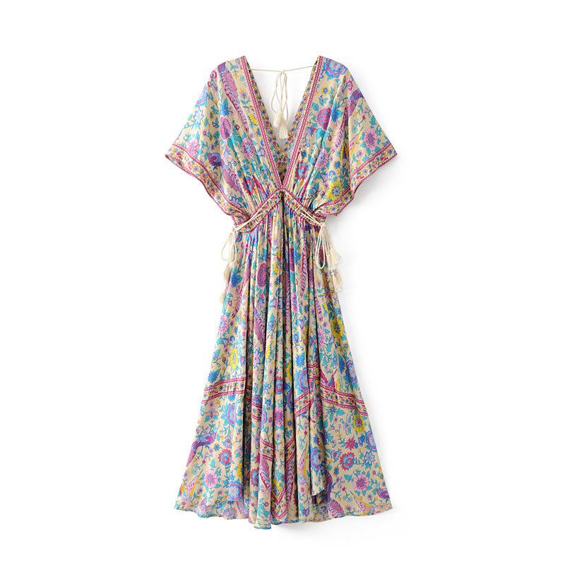 Vintage Chic Women Floral Print Bat Sleeve Beach Long Bohemian Maxi Dress Ladies V-neck Tassel Summer Boho Dress Vestidos Y190507