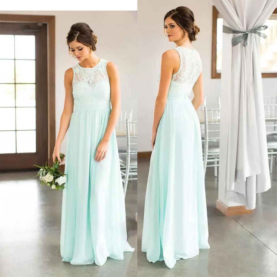 mint green lace country bridesmaids kleider lang sheer jewel ausschnitt  chiffon hochzeit gast kleid bodenlangen günstige mädchen der ehrenkleider