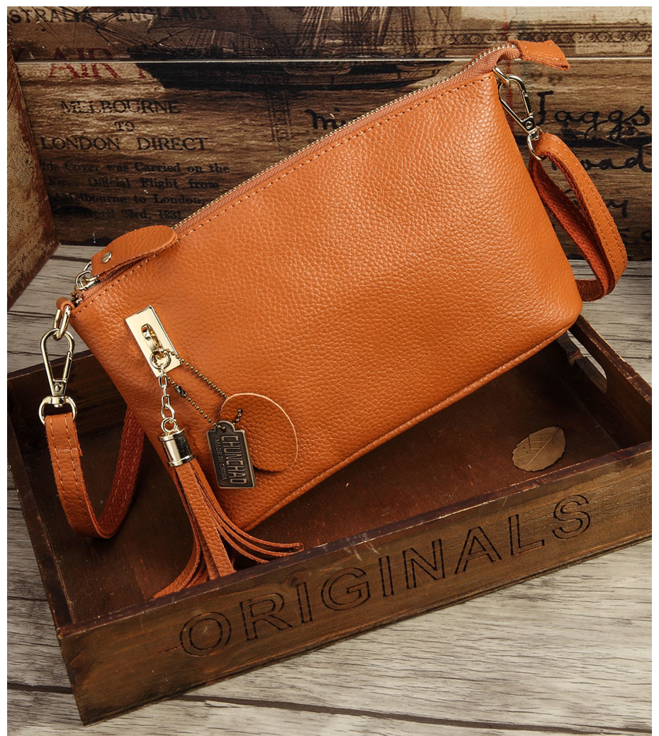 Cowhide PU Leather Women Messenger Bags Tassel Crossbody Bag Female Shoulder Bags For Women Clutch