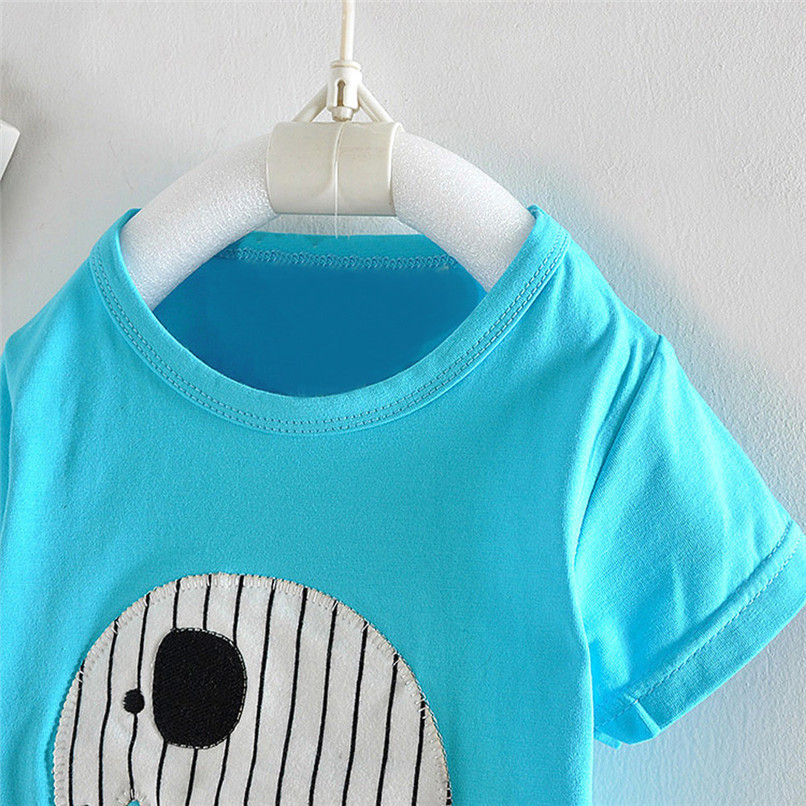 2PCS Baby Boy Sets Toddler Infant Baby Boy Short Sleeve Cartoon Elephant T-shirt Tops+Striped Pants Sets Baby Boy Clothes M8Y18 (19)