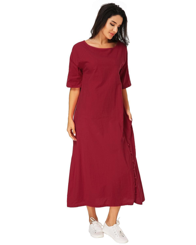 Vintage Mid-calf Dress Women 2019 Summer Casual Loose O Neck Half Sleeve Solid Vestidos Elegant Ladies Pockets A-line Dresses MX190725