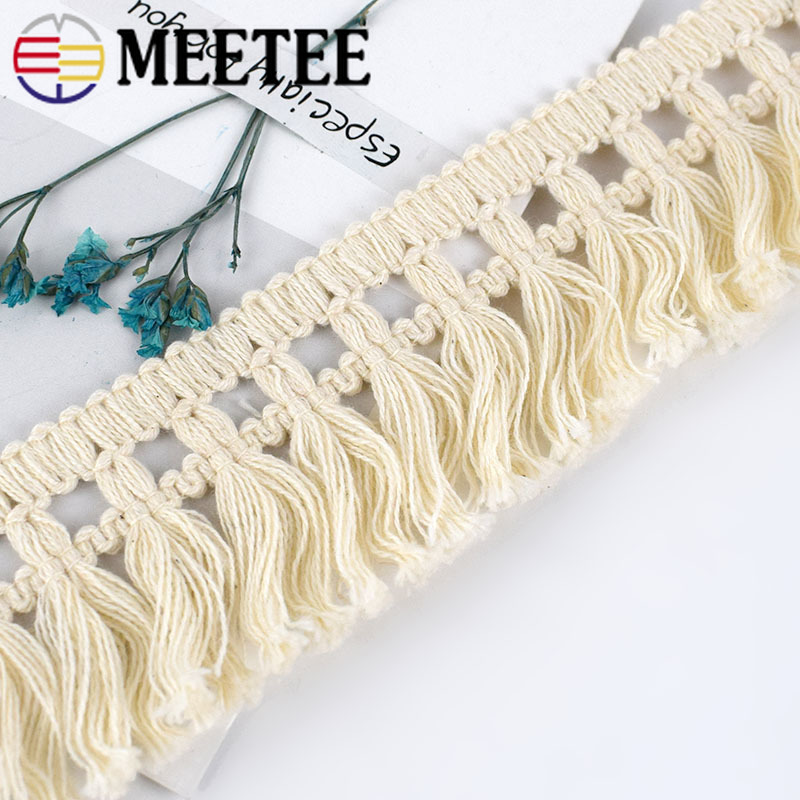 Fringe Tassel Trim Bobble Ribbon Tape with Tassels for curtains craft GOLD BEIGE