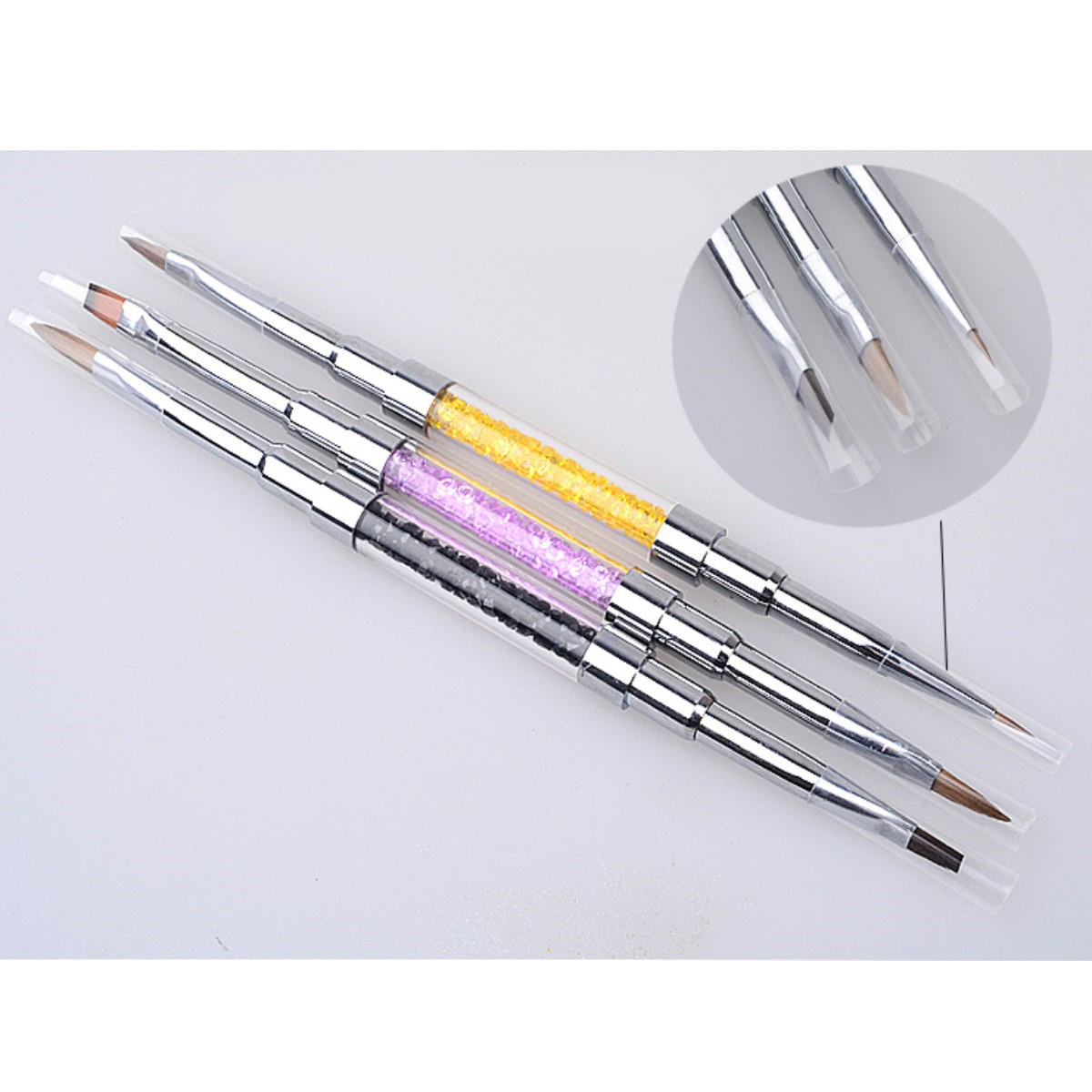 Dual-ended Painting Liner Nail Art Brush Pen UV Gel Drawing Brush with Cap Acrylic Rhinestone Handle Manicure Tools