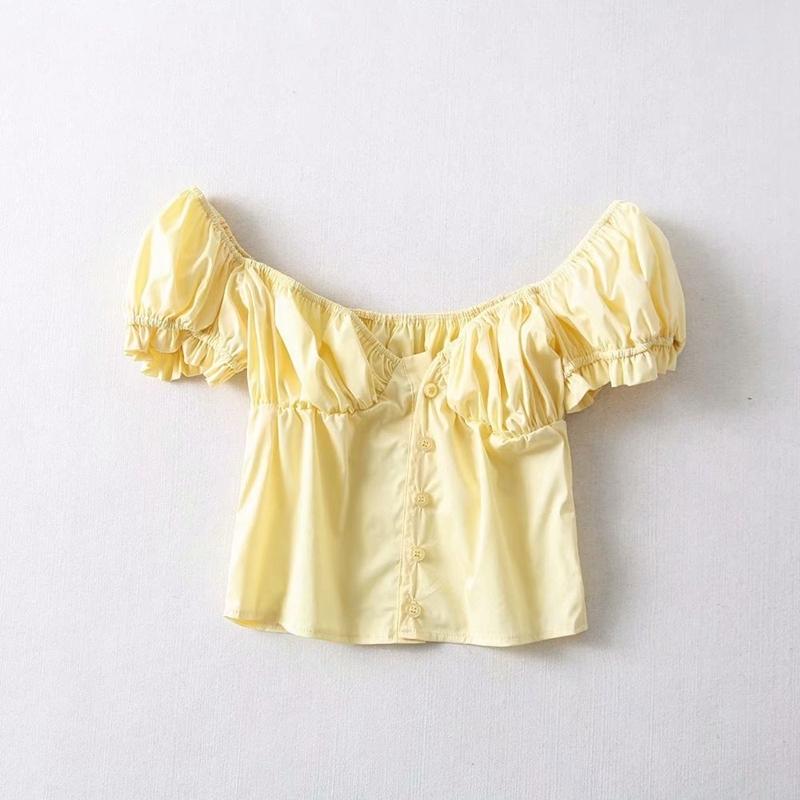 Sefns Moda V Pescoço Francês Camisas Elegantes Feminina Elastic Plissado Colheita Top Sopro Amarelo Manga Blusa Das Mulheres Tops E Blusas Y19043001