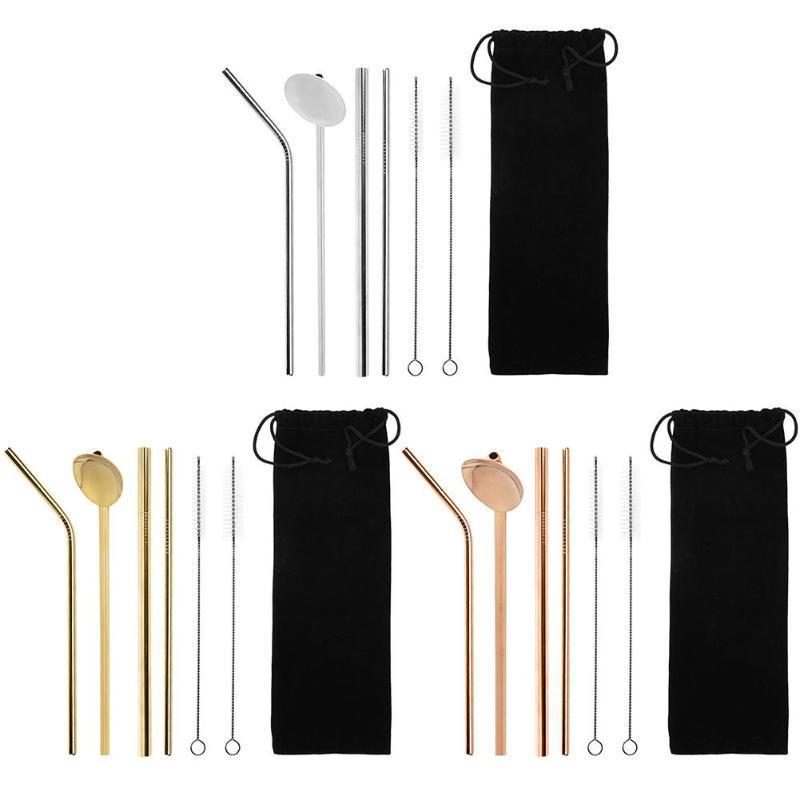 4+2 Stainless Steel Straw Reusable Metal Drinking Straw With Cleaner Brush & Bag For Home Party Barware Bar Accessories