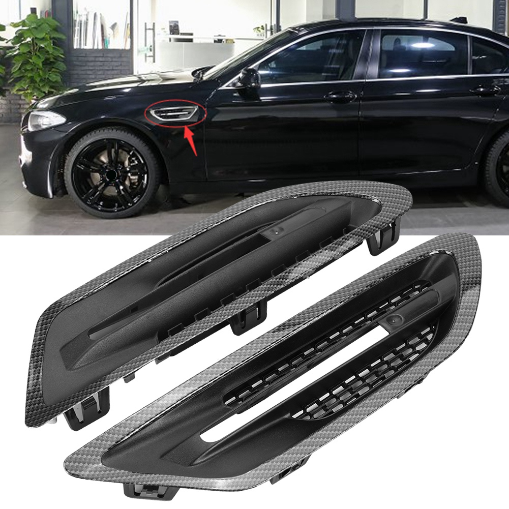 Car Side Air Flow Vent Grill Cover Carbon Fiber Style Trim Stickers for BMW M5 F10 F18 2010 2011 2012 2013 2014 2015 2016