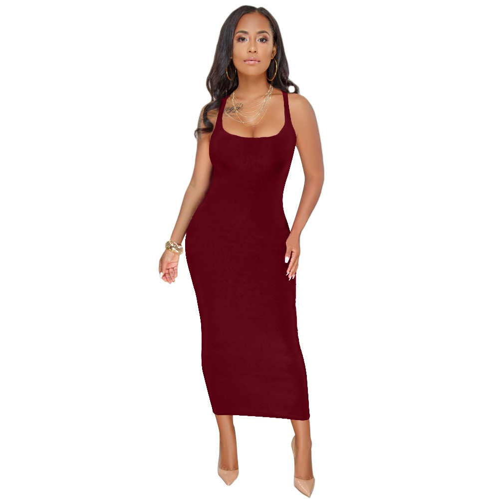 Sexy Bodycon Women Dress Solid Color Slim Tank Long Dress Elegant Square Collar Inner Cloth Vestidos Y190426