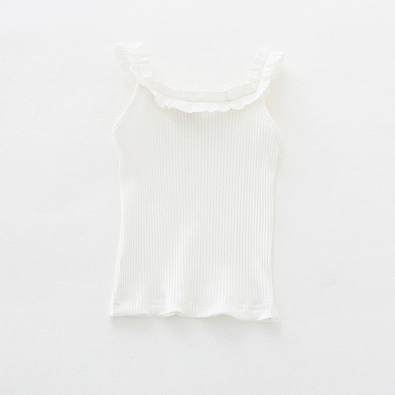 2018 Children T Shirts All Matched Knitted Striped Kids Baby Girls Tops Sleeveless Ruffles T-Shirt Summer Tee Free Drop Shipping