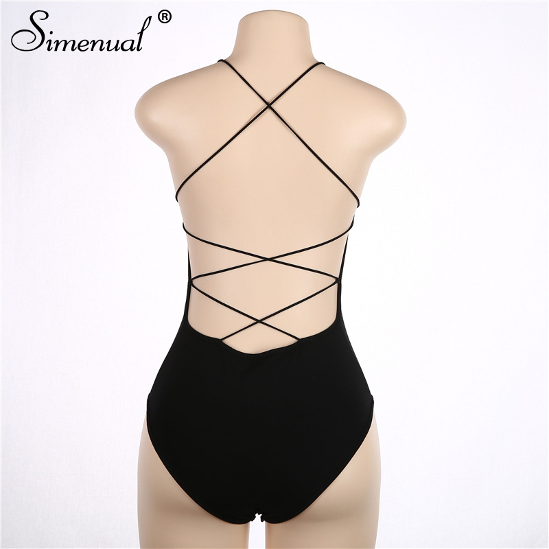 backless sleeveless summer bodysuit sexy hot one piece overalls criss cross strap play suit(7)
