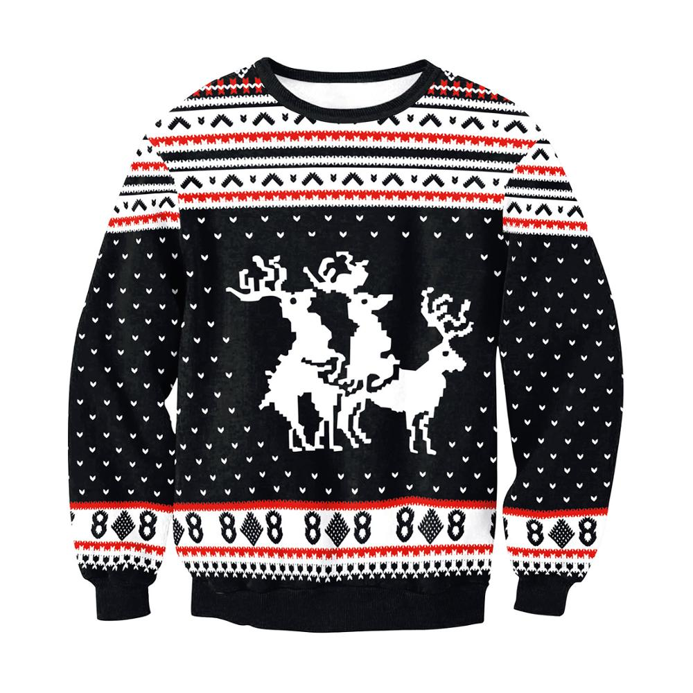 US!Men Autumn Winter Xmas Hoodie Ugly Reindeer Jacket Christmas Pullover Sweater