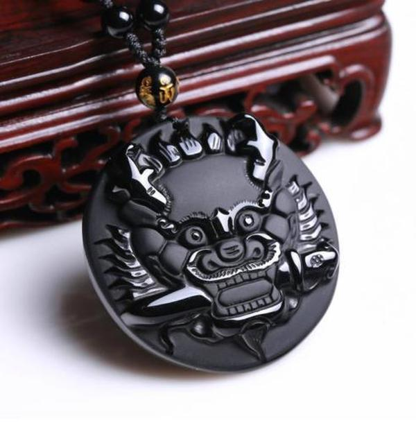Fine Jewelry Natural Obsidian Stone Hand Carved Chinese Dragon Head Charm Pendant Necklace