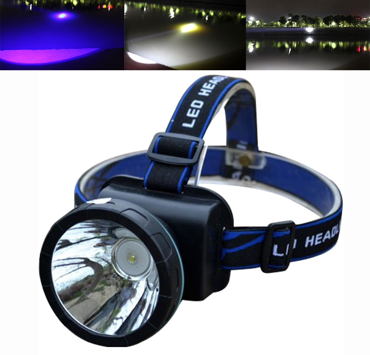 10W 2 in1 Zoom Blue White Light LED Headlamp Rechargeable Blue Fishing Headlight