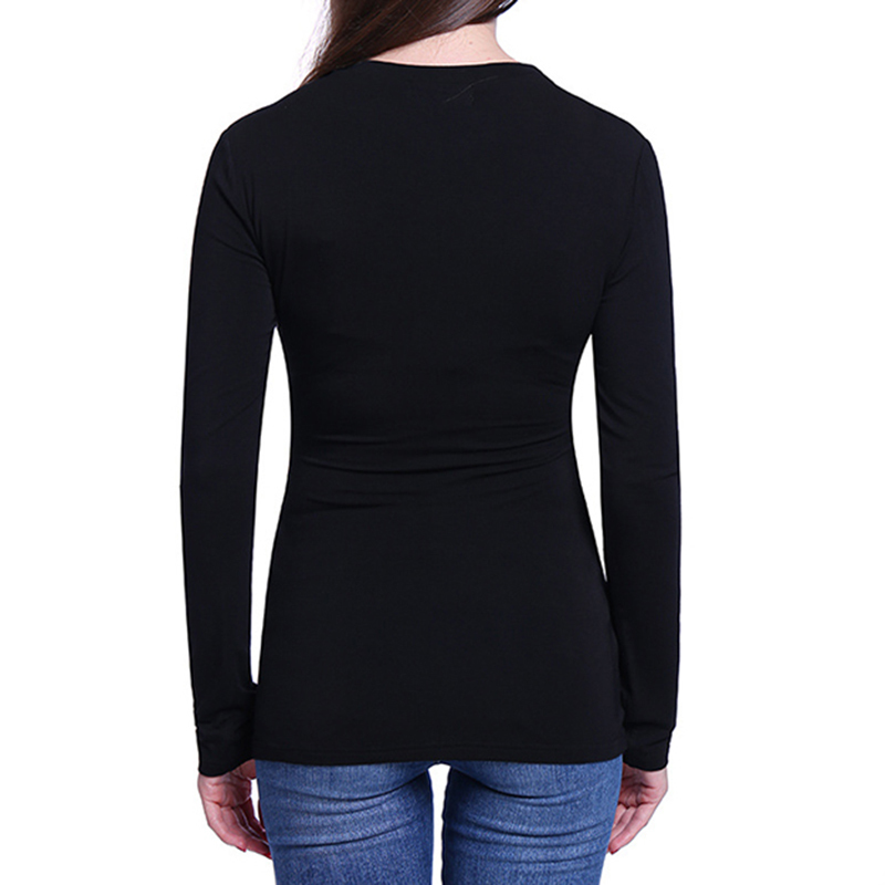 Floral Printed T-shirt Causal Women Long Sleeve Tee Sexy Deep V-neck Punk Style Wing Print Shirt Tops Women Ws1569c C19041702