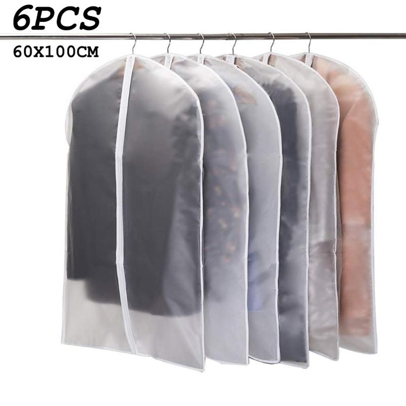 5Pcs Breathable Garment Dress Suit Clothes Coat Cover Protector Zipper Bag Black