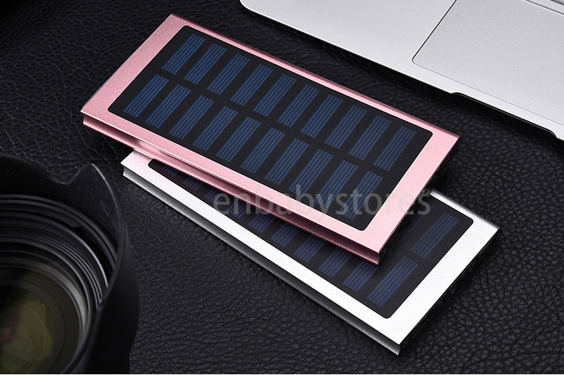 Ultra Slim Luxury 20000mah External Solar Power Bank Double USB Portable Battery Charger for all phone pad iPhone HTC Xiaomi