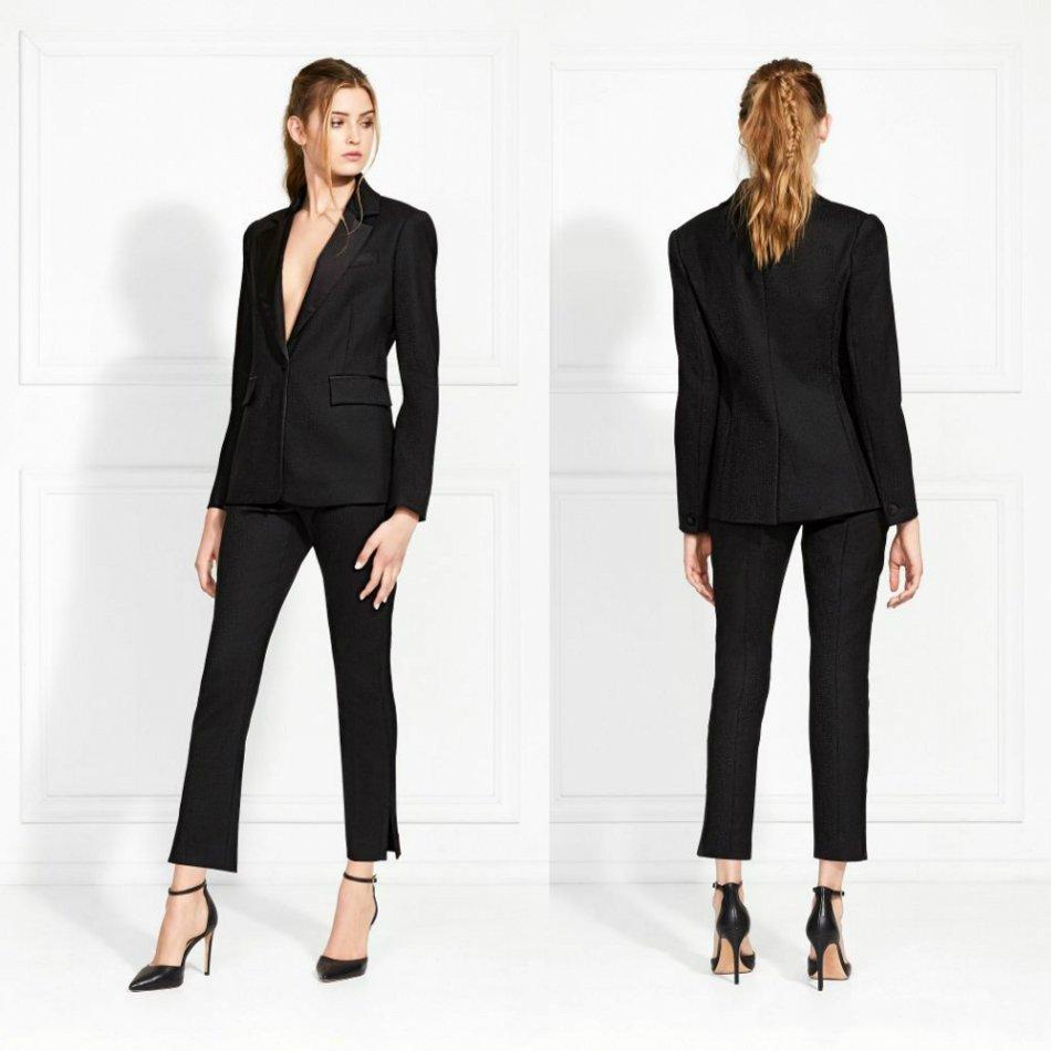 schwarz mutter der braut-klagen one button slim fit frauen arbeiten  hosen-anzüge damen-partei abendgarderobe für hochzeit (jacket pants)