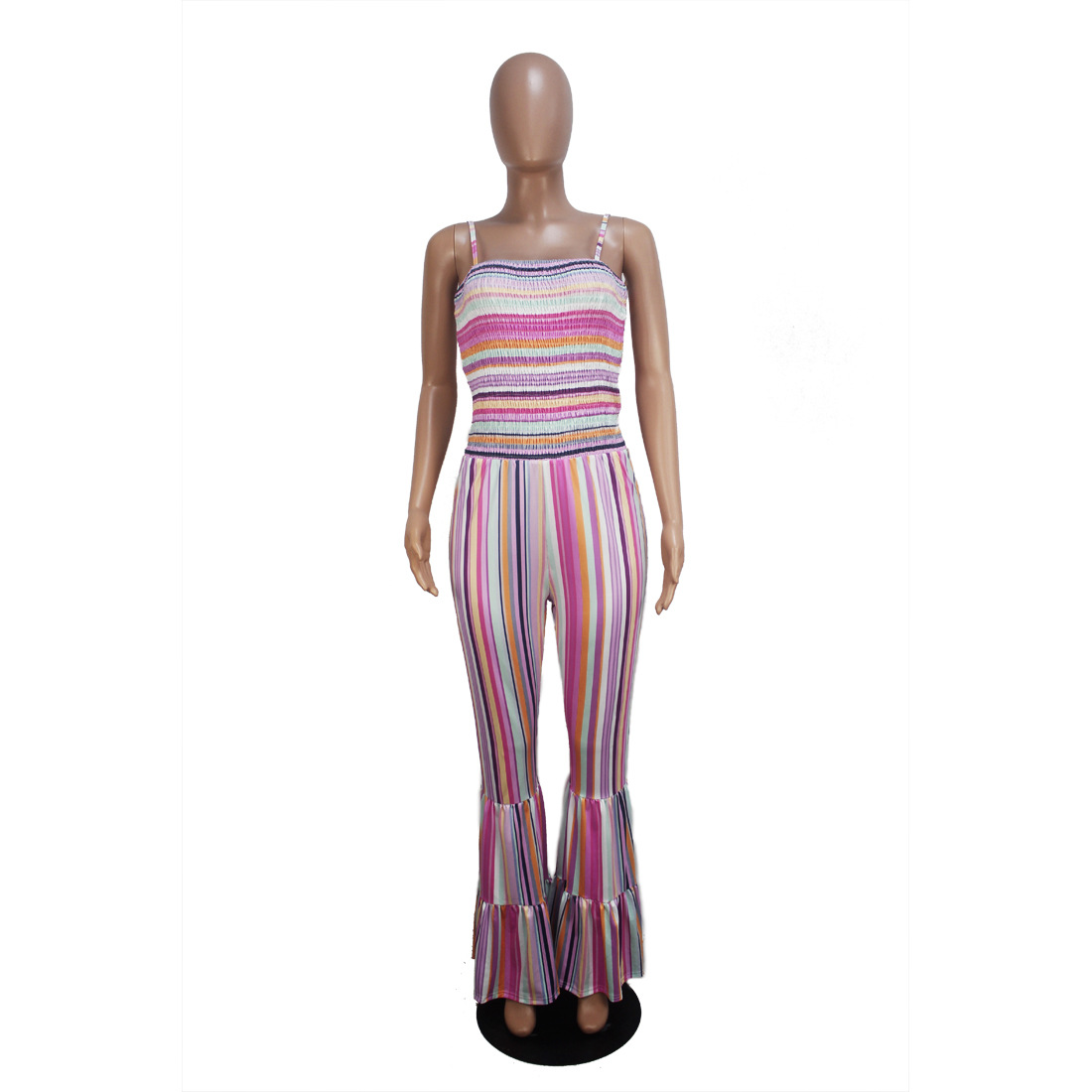 Ladies sexy trousers spaghetti-strapped wide leg flared rompers womens jumpsuit FM-D9109