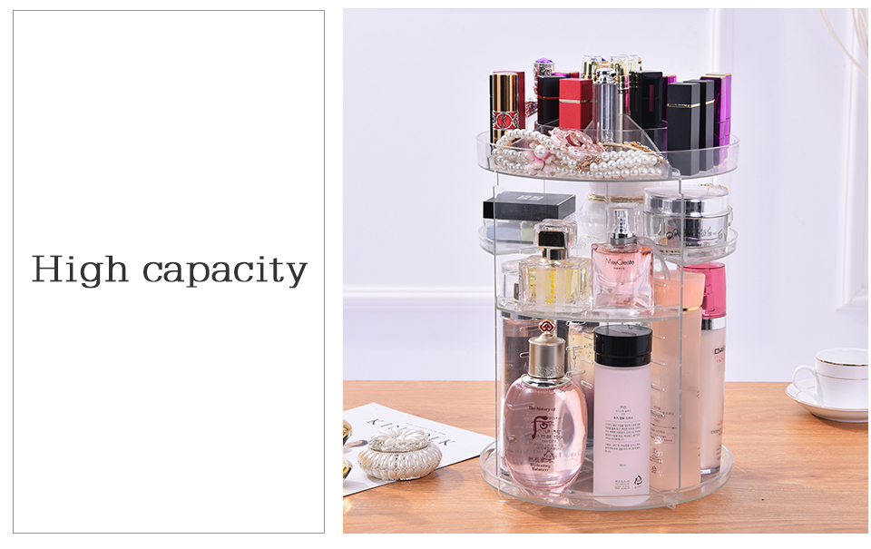Makeup Organizer 360 Rotating Adjustable Storage Box Plastic Clear AcrylicTransparent Box Jewelry Necklace Nail Polish Cosmetic (8)