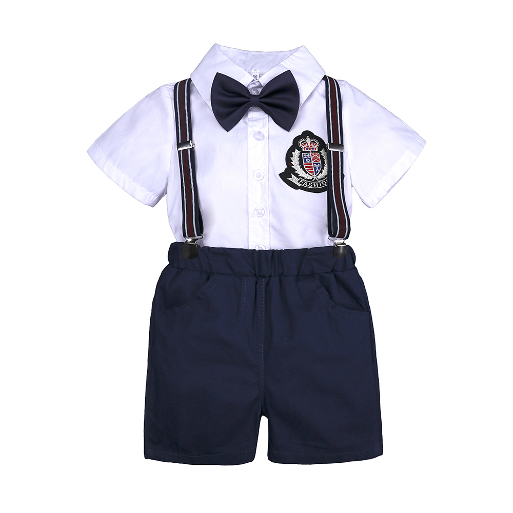 white Shirt+blue shorts with Bow Tie 2 pcs kids clothing sets summer Formal Party gentleman overalls suit kids baby boy clothes