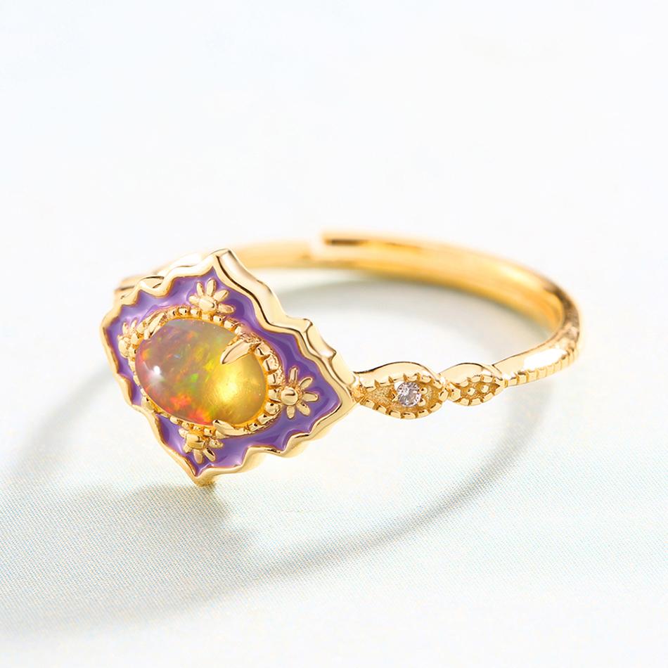ALLNOEL 925 Sterling Silver Gemstone Rings For Women Vintage Real Natural Fire Opal Enamel Rainbow Ring Wedding Fine Jewelry (8)