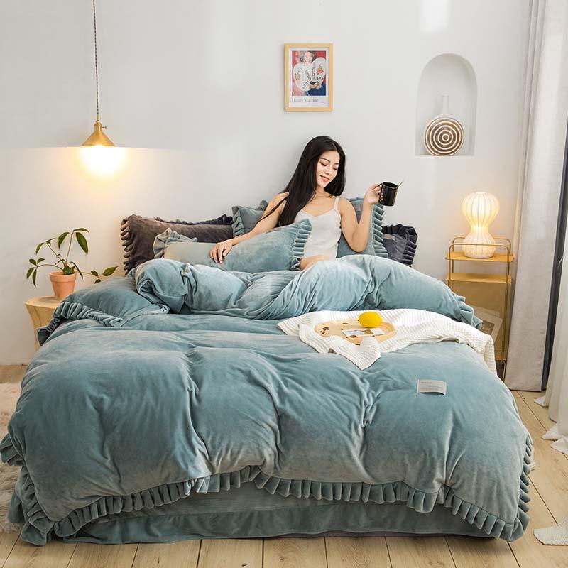 New 4Pcs SEBASTIA Printed Duvet Quilt Cover+PillowCase+Fitted Sheet Bedding Set