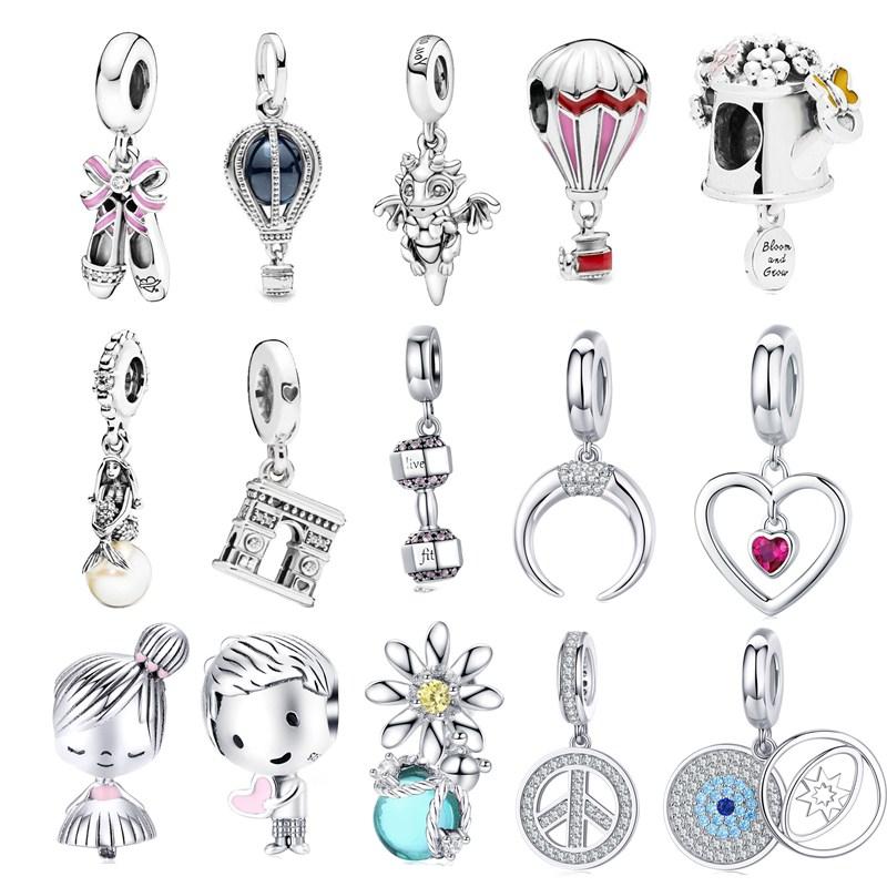 Bamoer S925 encantos pulsera de plata esterlina mujeres elegancia simple para joyería