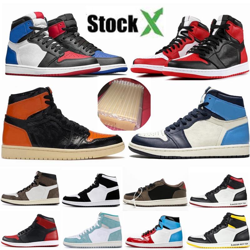 air Jordan Retro 1 High OG Travis Scotts chaussures de basket ball Spiderman UNC top 3 1s Hommes Hommage à Home Royal Bleu Hommes Sport Designer