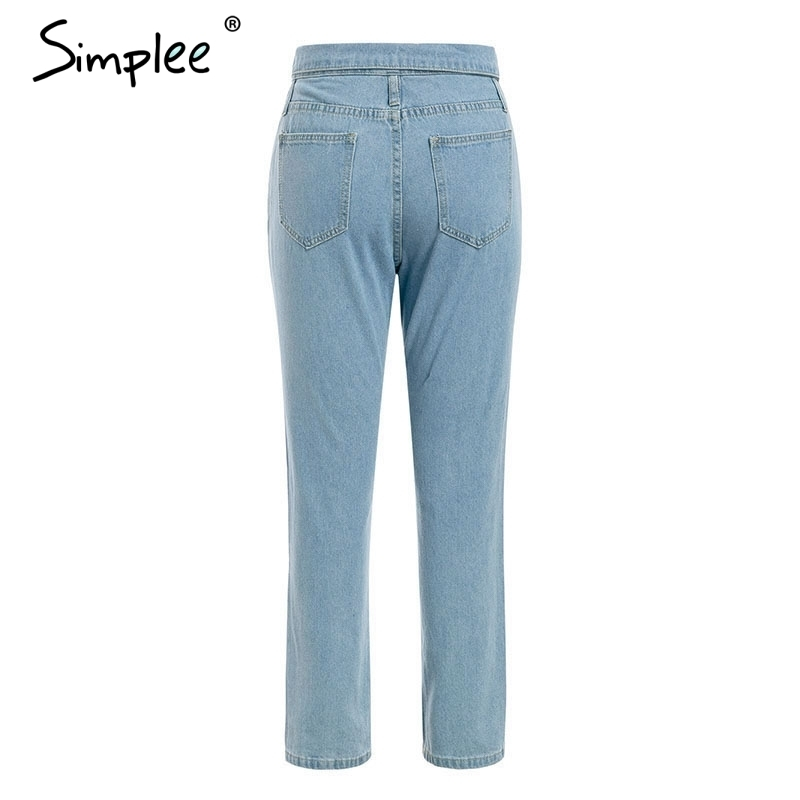 Simplee Fold-over Waist Blue Jeans Women Pants Casual Pocket Denim Harem Pants Streetwear Skinny Autumn Trousers 2019 Y190429