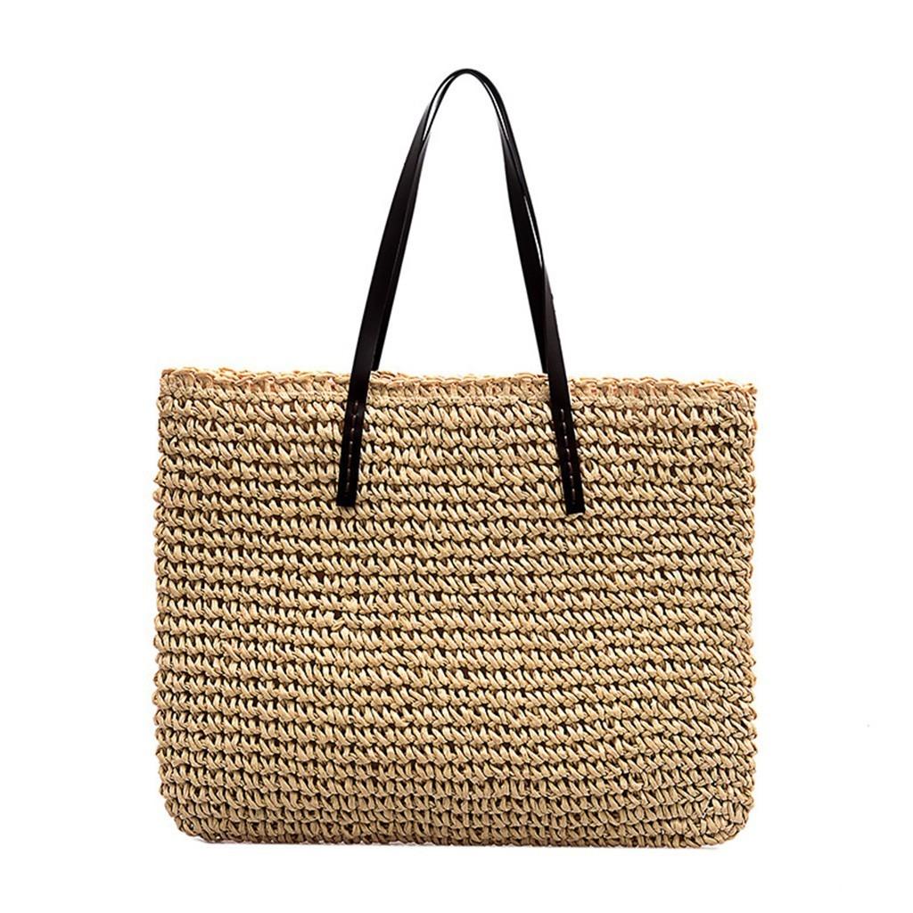 1 kadınlar Straw Büyük Omuz Çantaları Bayanlar Kızlar Moda Retro Straw Shop Omuz Çanta Tote Casual Çanta Artı Boyutu Çanta # 50