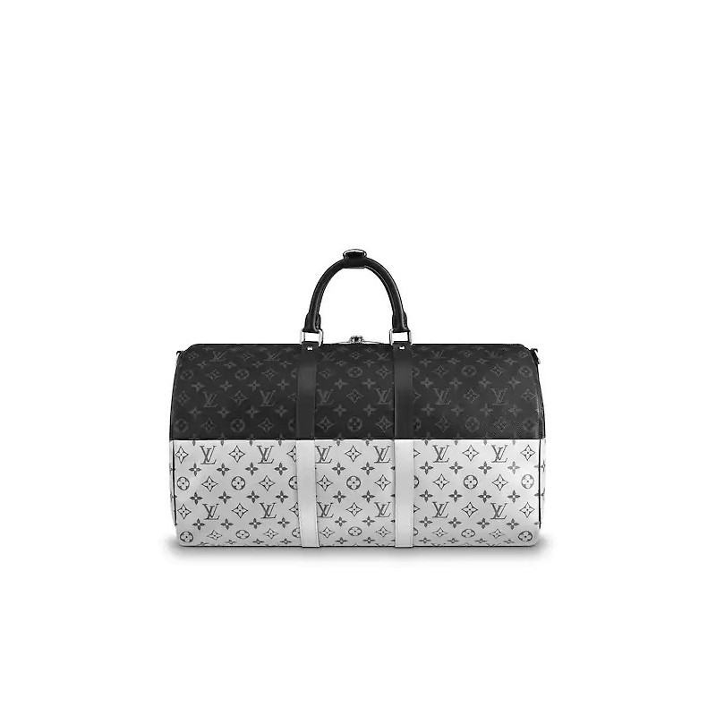 /  show limited edition KEEPALL50 black with silver presbyopia pattern with shoulder strap travel bag M43817