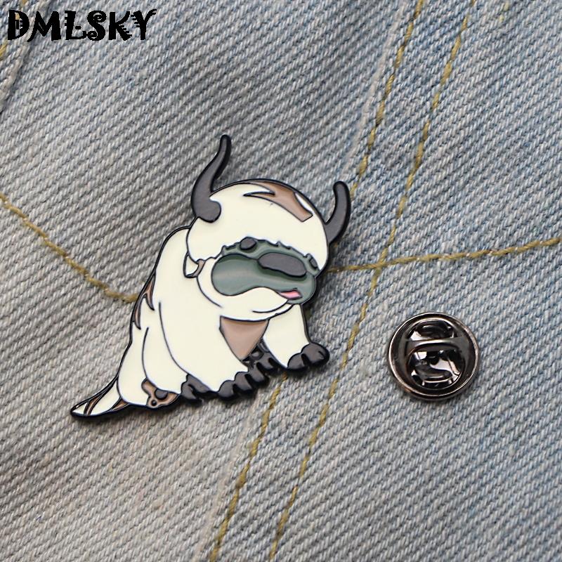 Giyim Çanta Çocuk Pim M3253 için DMLSKY / Avatar Sevimli Köpek Emaye iğneler Giyim için metal Emaye Pim Erkekler Yaka Pin Broş