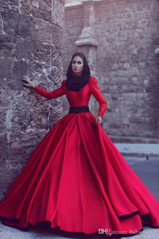 Burgundy Red Long Sleeves Muslim Prom Dresses 2019 Arabic New Arrival Formal Evening Gowns Jewel Red A-line Evening Wear with Sweep Train
