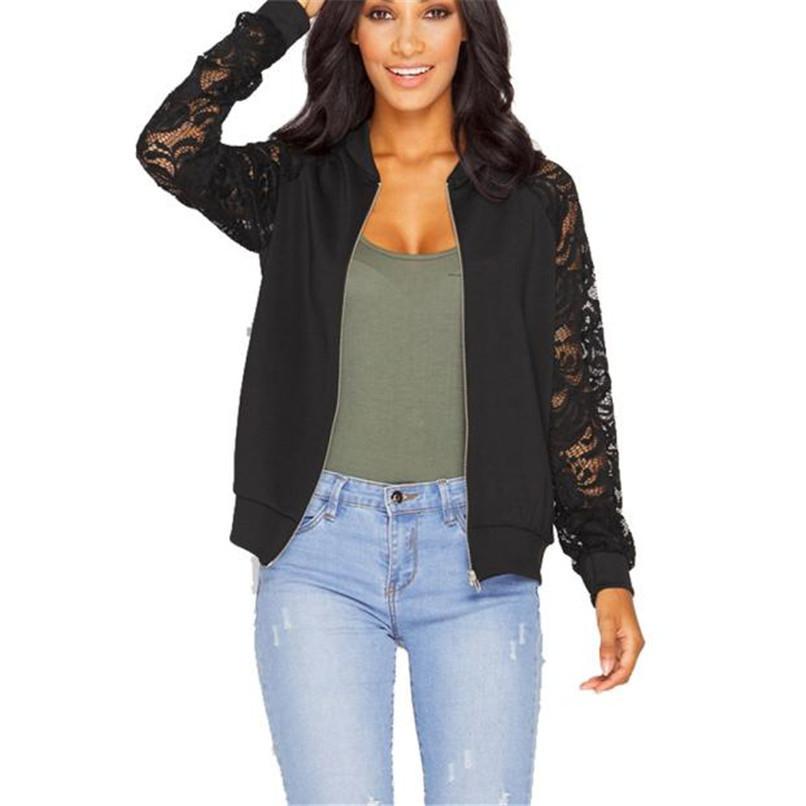 Lace Sleeve Women Basic Coats Long Sleeve Lace Patchwork Transparent Zipper Casual Slim Jacket Coat Bomber Jacket Outwear 40OC312