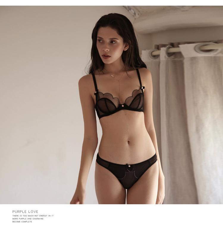 TERMEZY 2019 new Sexy Lace bar set ultra thin net gauze transparent Lingerie Set Push up brassier Fashion lace underwear (13)