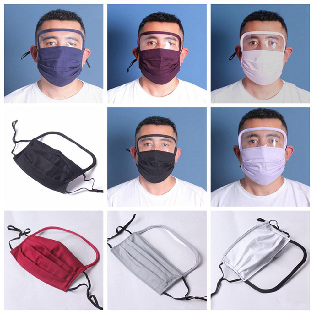 2 in 1 Face Shield Mask Anti Dust Face Masks Full Face Protection Anti Fog Washable Reusable Mouth Cover PM2.5 Protective Mask In Stock
