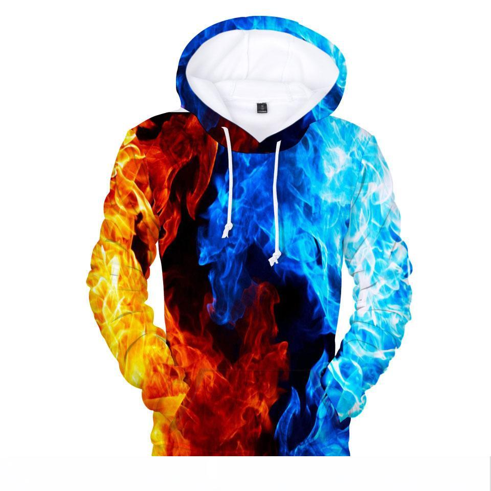 Unisex Hipster Fire and Ice Wolf Print Pullover Hip Hop Men Women Hoodie