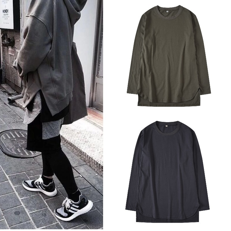 Cool2019 Street Kanye High Than Bo Easy Arrangement Length Of Front And Rear Curve Rendering Unlined Upper Garment Long Sleeve Men And