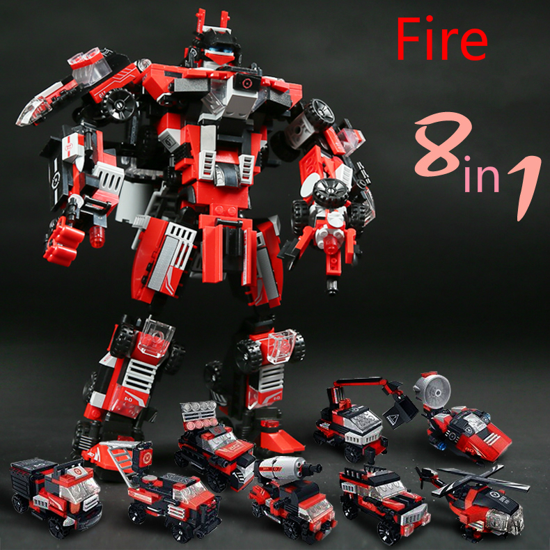 8in1 Series Engineering /Fire/ Police Robot Cars Building Blocks Transformative Compatible Legoed Warrior