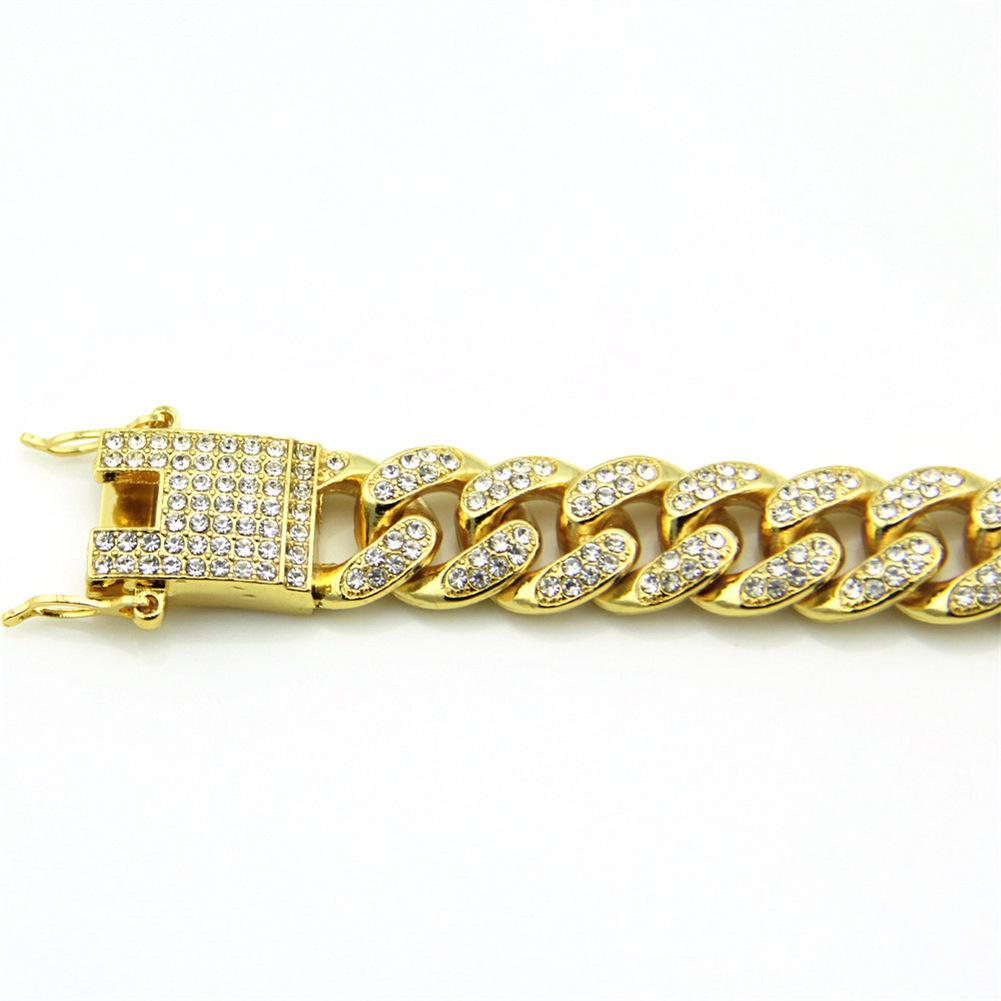 Man Hip Hop Full Rhinestone 18K Gold Plated Silver Plated Cuban Bracelet Width 12mm High Quality luxury designer jewelry men bracelets