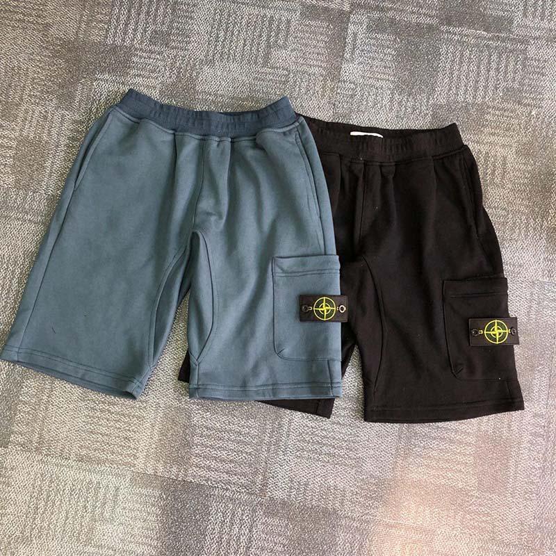Pantaloncini da uomo in pile Cargo multi tasche coulisse cotone grigio kaki nero