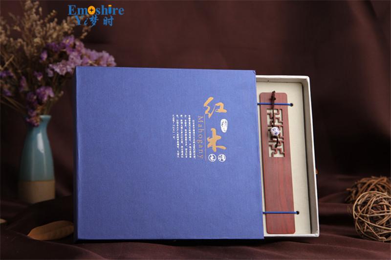 Emoshire High-grade solid wood bookmarks set of classical hollow Branch Tan gold silk Nanmu Chinese wind bookmarks custom custom TSQ04 (9)