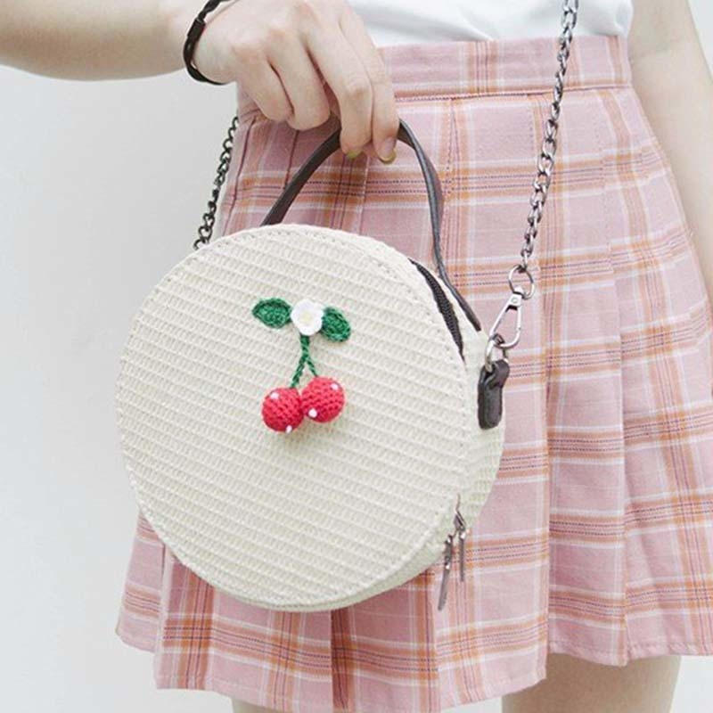 New Women Circle Handbag Summer INS Popular Female Straw Bag Cherry Lady Knit Shoulder Bag Fashion Holiday Crossbody SS7314 (10)
