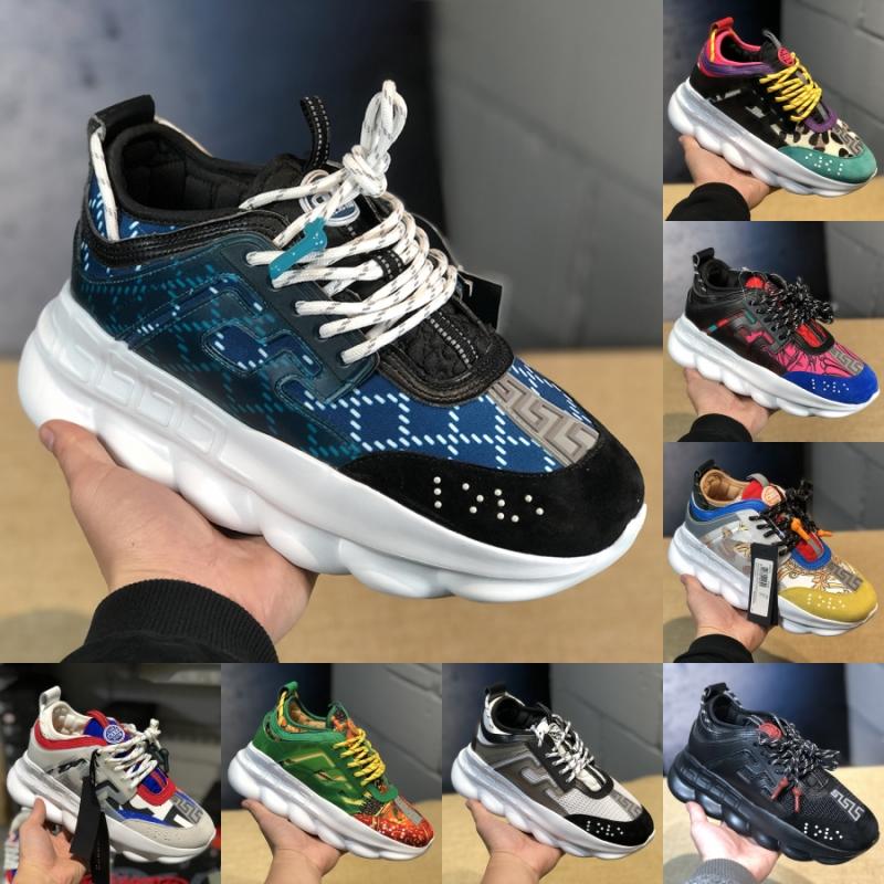 Versace 2019 designer de luxe de mode réaction de chaîne hommes chaussures formateurs femmes chaussures Chainz léopard en cuir plateforme Casual