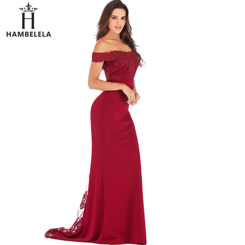 HAMBELELA Vestido De Festa Pink Black Red Mermaid Dress Lace Top Bodice Slim Long Formal Party Dress Charming Wedding Party Gown (4)