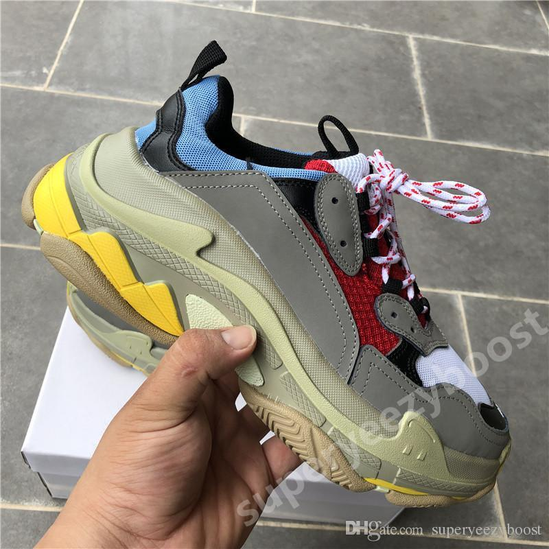 New Paris Luxury Triple-S White Black men mens designer shoes Black pink cream yellow red cheap womens fashion casual shoes sneakers