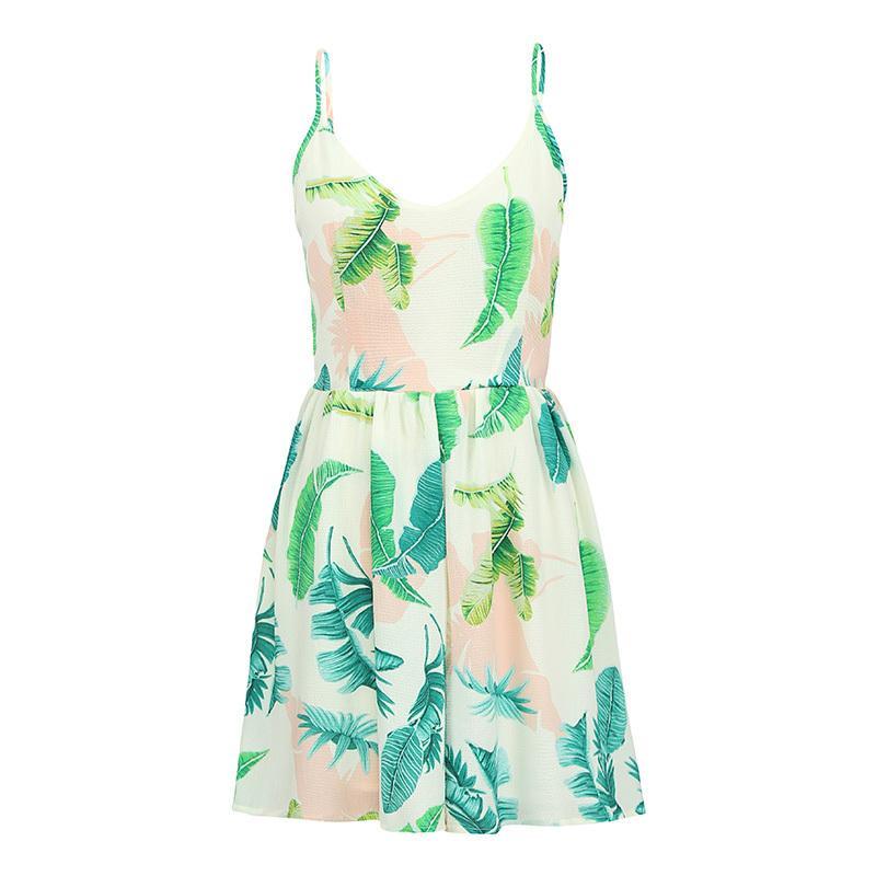 Sexy Women Slip Jumpsuit Short Leaf Print Deep Vneck Spaghetti Strap Sleeveless Culotte Playsuit Summer Rompers Beige/Black/Blue